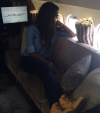 Photos: Tiwa Savage and Teebillz board private jet to show in Gabon